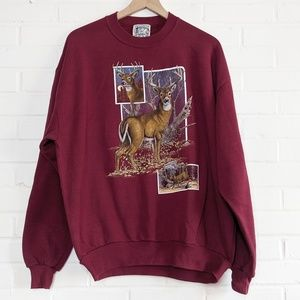 Vintage Grandma Nature Graphic Sweatshirt Deer 90s